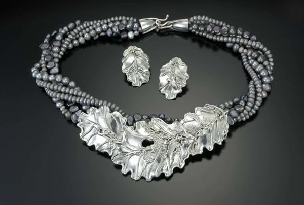 3 Piece Oak Leaf Slide,  Multi-Strand Pearl Necklace, and Earrings